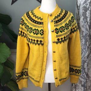 Sweaters - Fun Yellow Holiday Wool Sweater